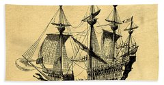Hand Towel featuring the drawing Tall Ship Vintage by Edward Fielding