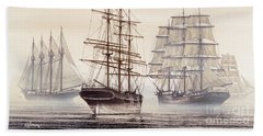 Tall Ships Hand Towel by James Williamson