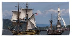 Tall Ships Square Off Bath Towel