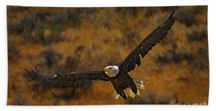 Hand Towel featuring the photograph Talons At The Ready-signed by J L Woody Wooden