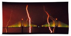Tampa Bay Lightning Over The Skyway Bridge Bath Towel