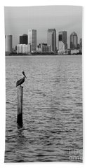 Tampa Skyline And Pelican Black And White Bath Towel