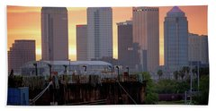 Tampa's Skyline From The Port Bath Towel