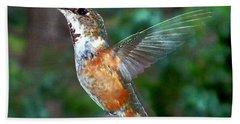 Tan Hummingbird Hand Towel by Joseph Frank Baraba