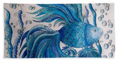 Hand Towel featuring the drawing Tangled Fish 3 by Megan Walsh