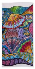 Bath Towel featuring the drawing Tanglemania by Megan Walsh