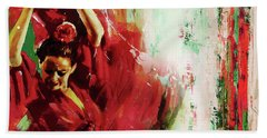 Bath Towel featuring the painting Tango Dance 45g by Gull G