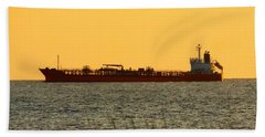Tanker At Sunrise Bath Towel