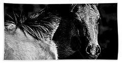 Taos Pony In B-w Bath Towel