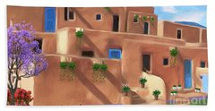 Taos Pueblo With Flowers Hand Towel by Walter Colvin