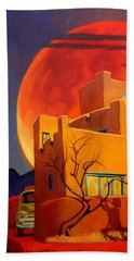 Bath Towel featuring the painting Taos Wolf Moon by Art West