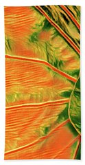 Taro Leaf In Orange - The Other Side Bath Towel