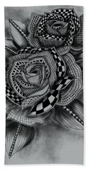 Tattoo Rose Greyscale Bath Towel