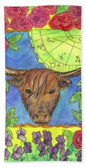 Hand Towel featuring the painting Taurus by Cathie Richardson