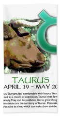 Taurus Sun Sign Hand Towel by Shelley Overton