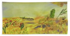 Hand Towel featuring the painting Tawny Owl's View by Meryl Goudey
