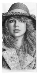 Taylor Swift Portrait Drawing Hand Towel by Shierly Lin