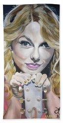 Taylor Swift Portrait Hand Towel by Zalika Ledeatte- Williams