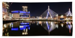 Td Garden And The Zakim Bridge At Night Hand Towel
