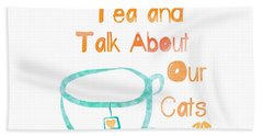 Tea And Cats Square Hand Towel by Linda Woods