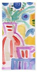 Tea And Flowers 2- Art By Linda Woods Hand Towel