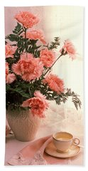 Tea Cup With Pink Carnations Hand Towel