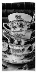 Tea Cups In Black And White Hand Towel