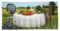 Hand Towel featuring the digital art Tea For Two by Jutta Maria Pusl