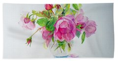 Bath Towel featuring the painting Tea Rose by Beatrice Cloake