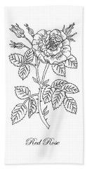 Tea Rose Botanical Drawing Black And White Hand Towel