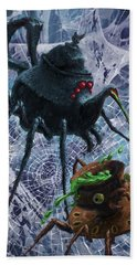 Bath Towel featuring the digital art Tea Set Monster Spiders Fantasy by Martin Davey