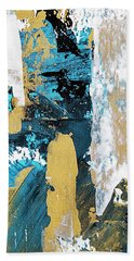 Hand Towel featuring the painting Teal Abstract by Christina Rollo