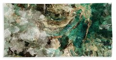 Teal And Cream Abstract Painting Bath Towel by Ayse Deniz
