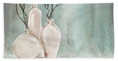 Teal Elegance - Teal And Gray Art Hand Towel