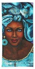 Bath Towel featuring the painting Teal Headwrap by Alga Washington