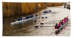 Teams Of Rowers On River Cam Bath Towel