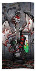 Hand Towel featuring the digital art Tech-n-dustrial Music Dragon by Stanley Morrison