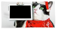 Technology Christmas Cat Bath Towel
