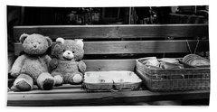 Teddy Bear Lovers On The Bench Hand Towel by Yoel Koskas