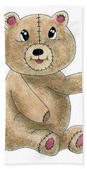 Teddy Bear Watercolor Painting Bath Towel