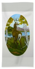 Hand Towel featuring the painting Teddy's Deer by Sheri Keith