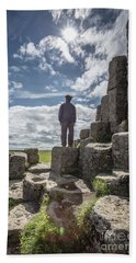 Hand Towel featuring the photograph Teen Boy Standing On Basalt Rocks by Edward Fielding