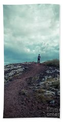 Bath Towel featuring the photograph Teenager On A Hiking Trail In Iceland by Edward Fielding