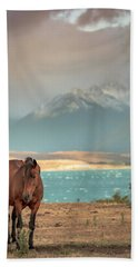 Bath Towel featuring the photograph Tekapo Horse by Chris Cousins