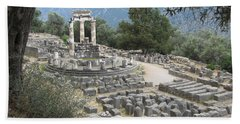 Temple Of Athena At Delphi Hand Towel