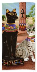 Hand Towel featuring the painting Temple Of Bastet - Bast Goddess Cat by Carrie Hawks