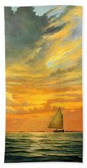 Bath Towel featuring the painting Ten Thousand Islands by David  Van Hulst