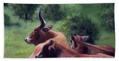 Bath Towel featuring the painting Tennessee Longhorn Steers by Janet King