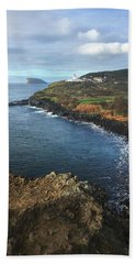 Terceira Island Coast With Ilheus De Cabras And Ponta Das Contendas Lighthouse  Hand Towel