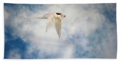 Tern In Flight With Fish Bath Towel